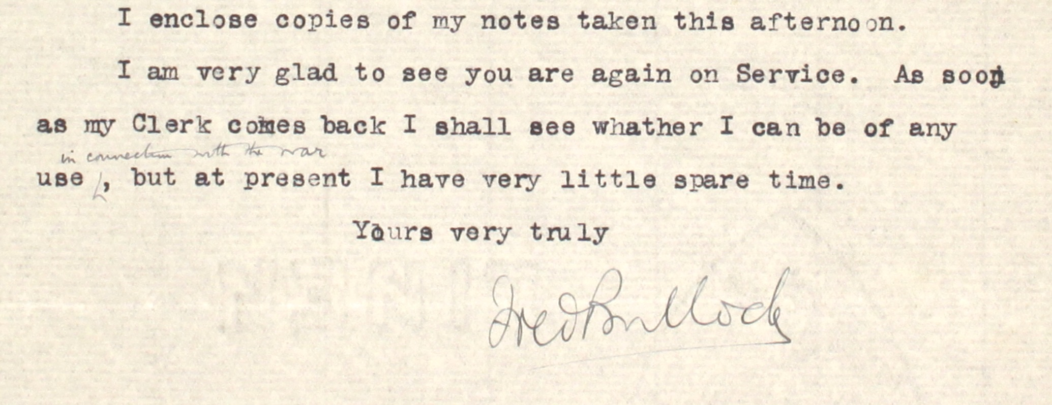 33 – Letter to Frederick Smith from Fred Bullock, 5 Sep 1914